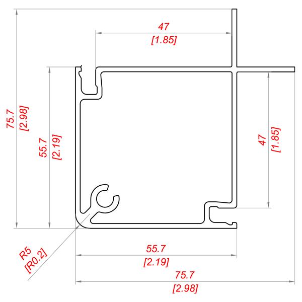 Алюминиевый профиль P 155/45 PS