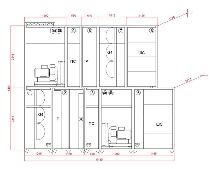 Принципиальная схема приточно-вытяжной установки Миникон 3600/7