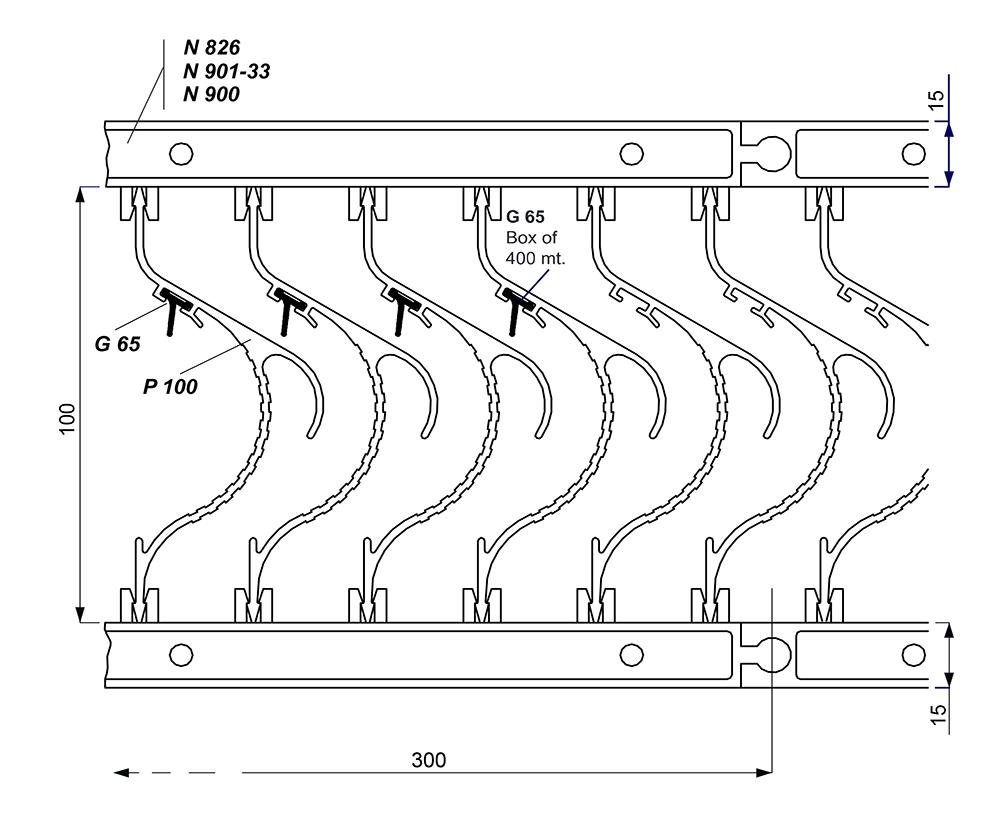сборка кассеты из профиля p 100 и уплотнителя g65