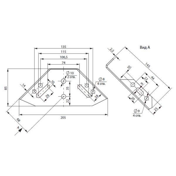 уголок мебельный треугольный 145х145 мм размеры