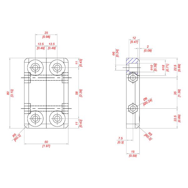 чертеж ACB 80×50