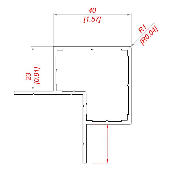 алюминиевый профиль для монтажа композитных листов 40*40