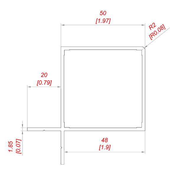 профиль алюминиевый квадратный 50 на 50