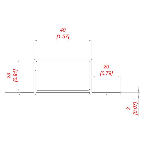 чертеж P 242/20 профиль прямоугольный 40*23
